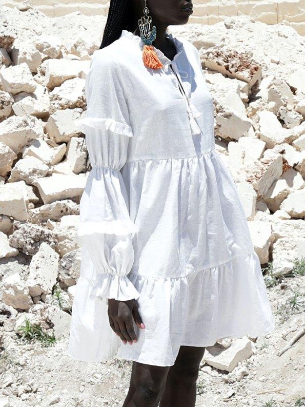 Asha Eleven Safi Dress White Linen Cropped