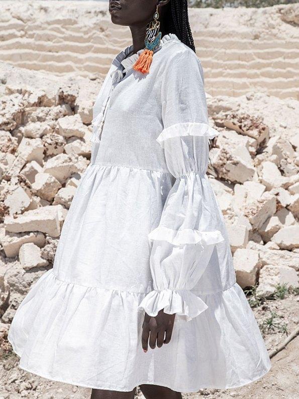 Asha Eleven Safi Dress White Linen Detail