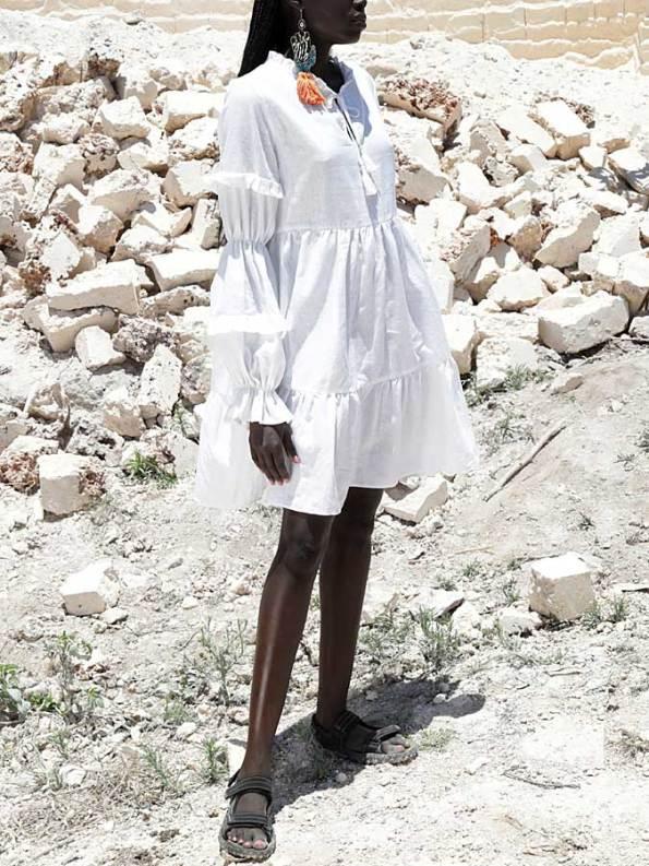 Asha Eleven Safi Dress White Linen Side