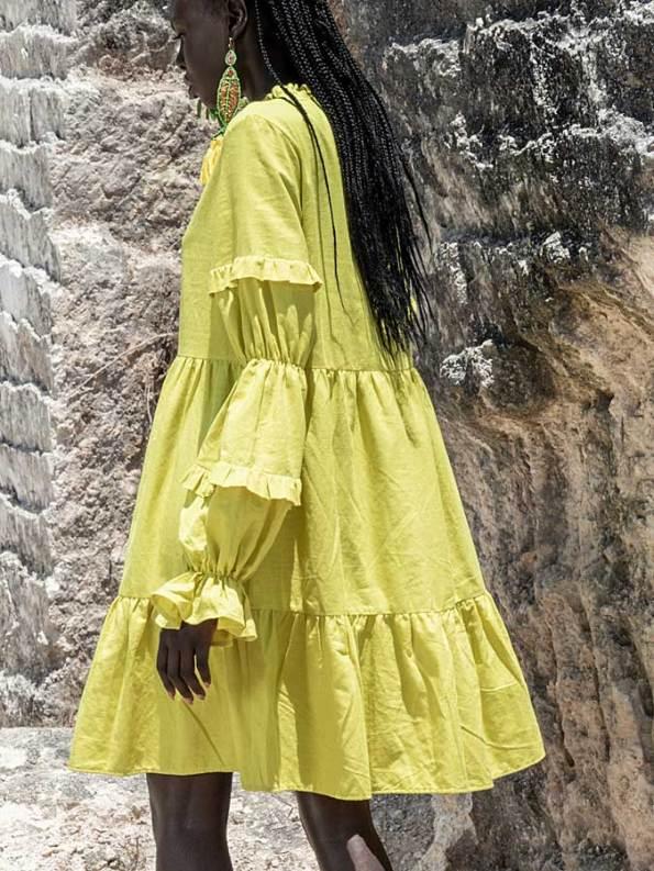Asha Eleven Safi Linen Dress Limon Back