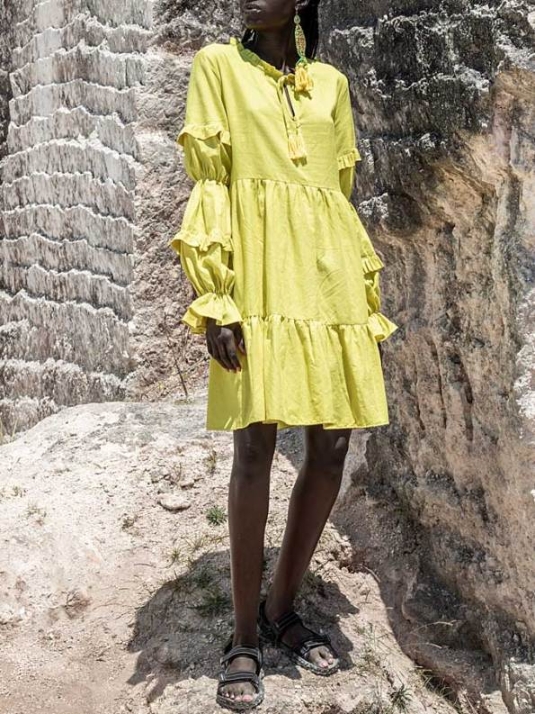 Asha Eleven Safi Linen Dress Limon Side