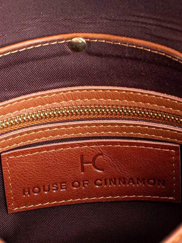 House of Cinnamon Envelope Clutch Tan Inside