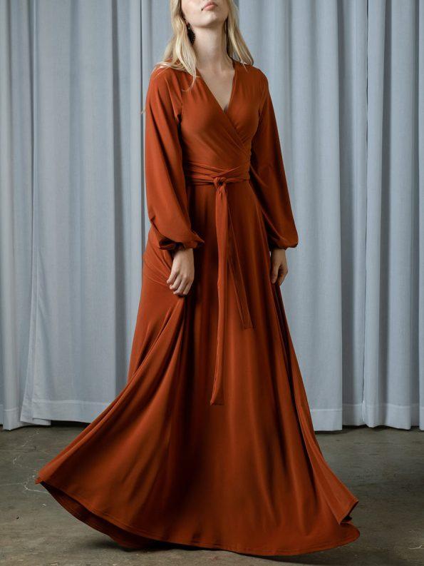 IDV Maxi Wrap Dress Rust 1