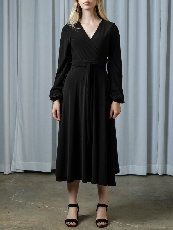 IDV Midi Wrap Dress Black Front