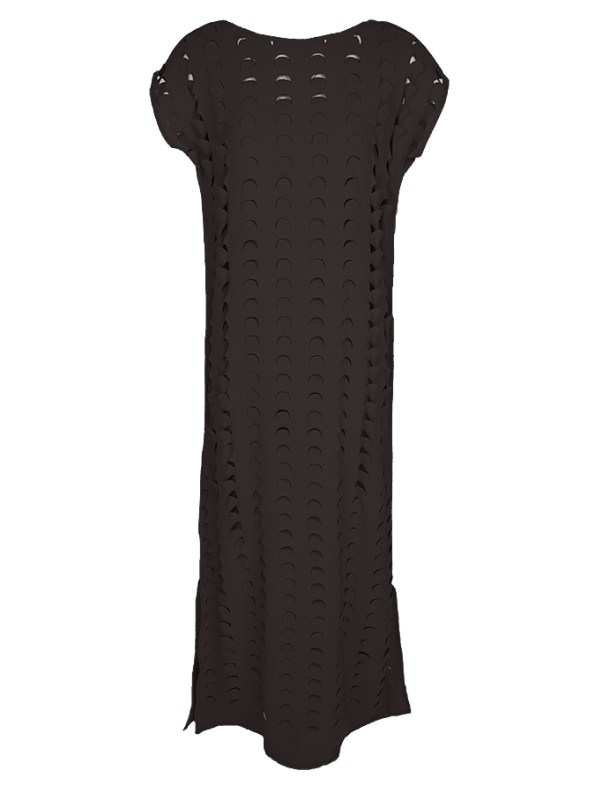 Isabel de Villiers Black Laser Cut Maxi Dress