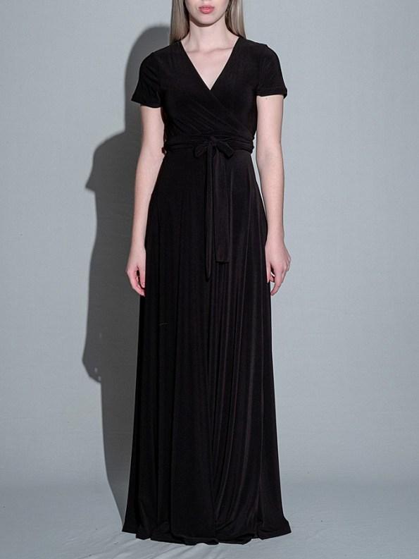 Isabel de Villiers Black Maxi Wrap Dress