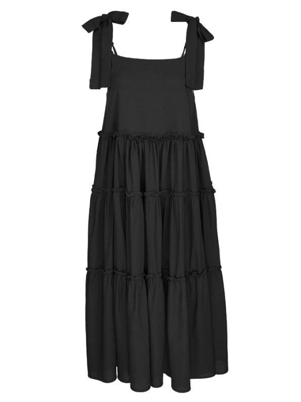 Isabel de Villiers Frill Maxi Dress, Black Linen Blend