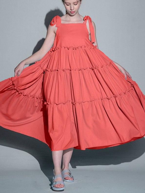 Isabel de Villiers Frill Maxi Dress, Coral Linen Blend Front