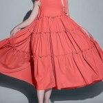 Isabel de Villiers Frill Maxi Dress, Coral Linen Blend