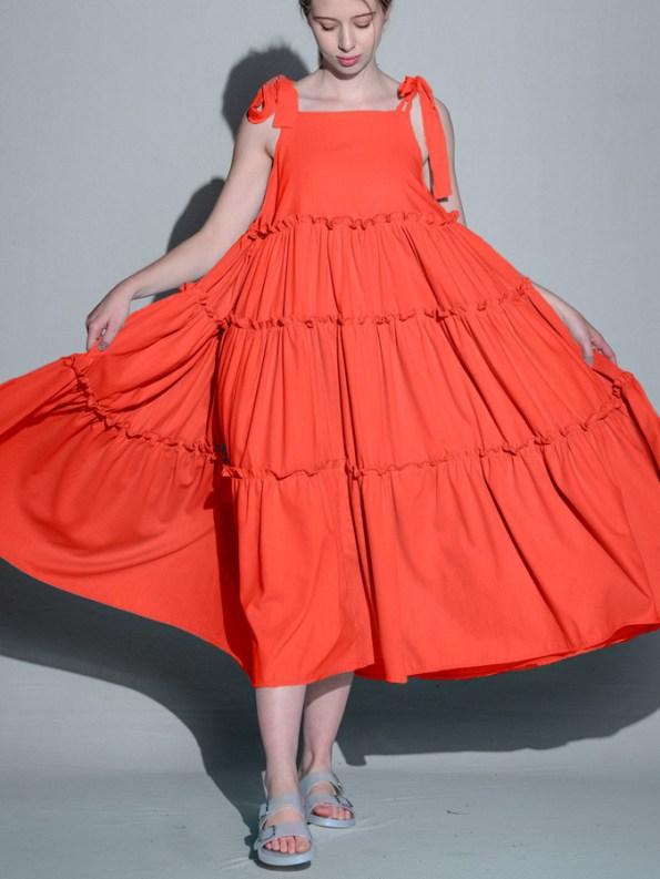 Isabel de Villiers Frill Maxi Dress, Orange Linen Blend Front