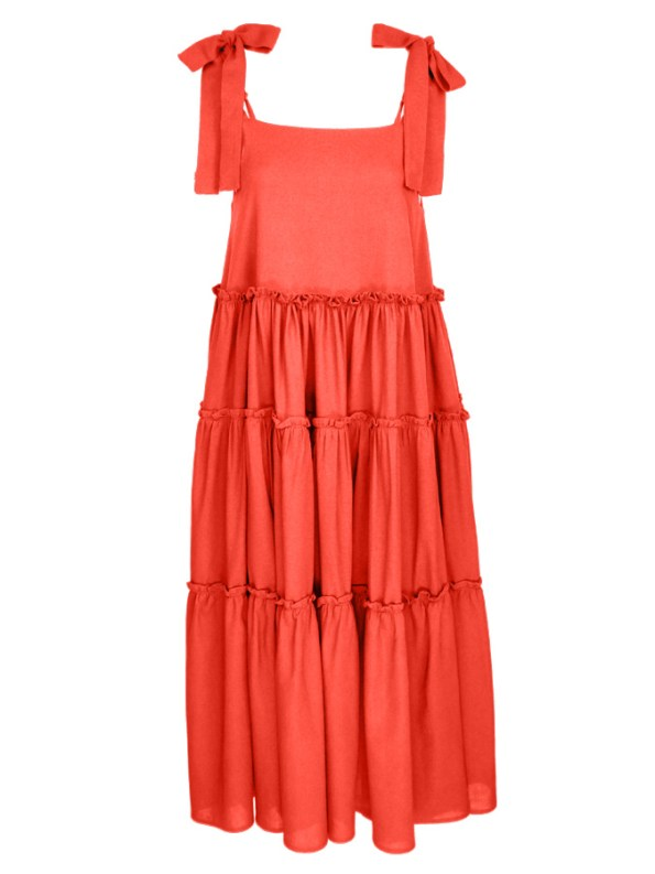 Isabel de Villiers Frill Maxi Dress, Orange Linen Blend
