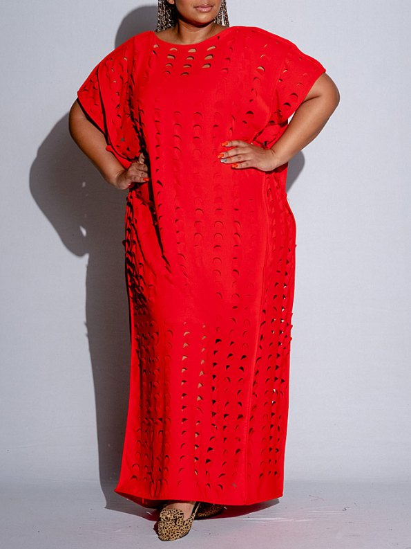 Isabel de Villiers Laser Cut Maxi Dress Red Front