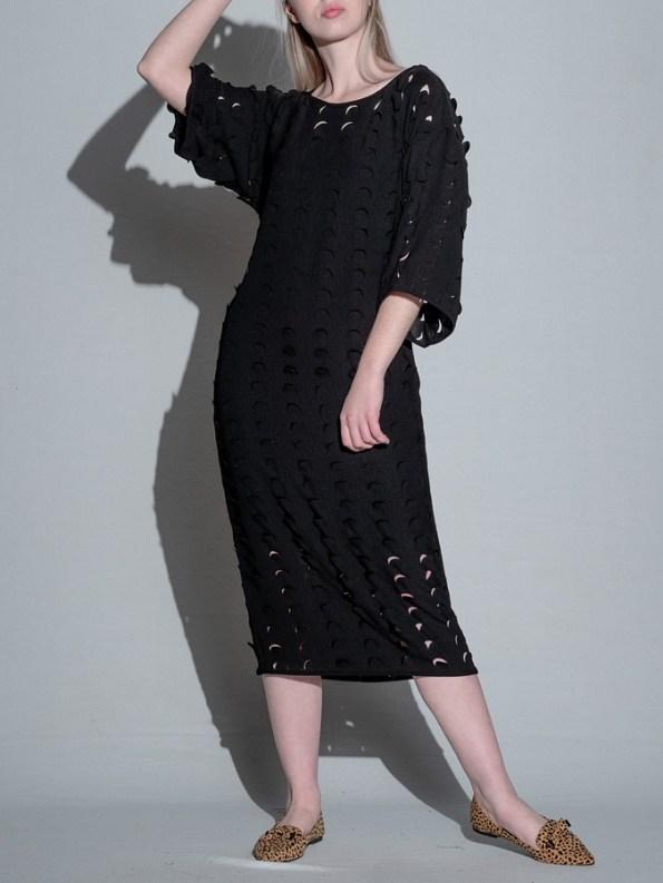 Isabel de Villiers Laser Cut Midi Dress Black Front