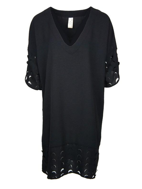 Isabel de Villiers Laser Cut Trim Dress Black