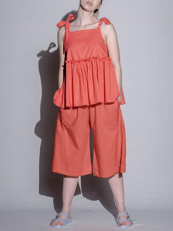 Isabel de Villiers Linen Culottes Coral Front