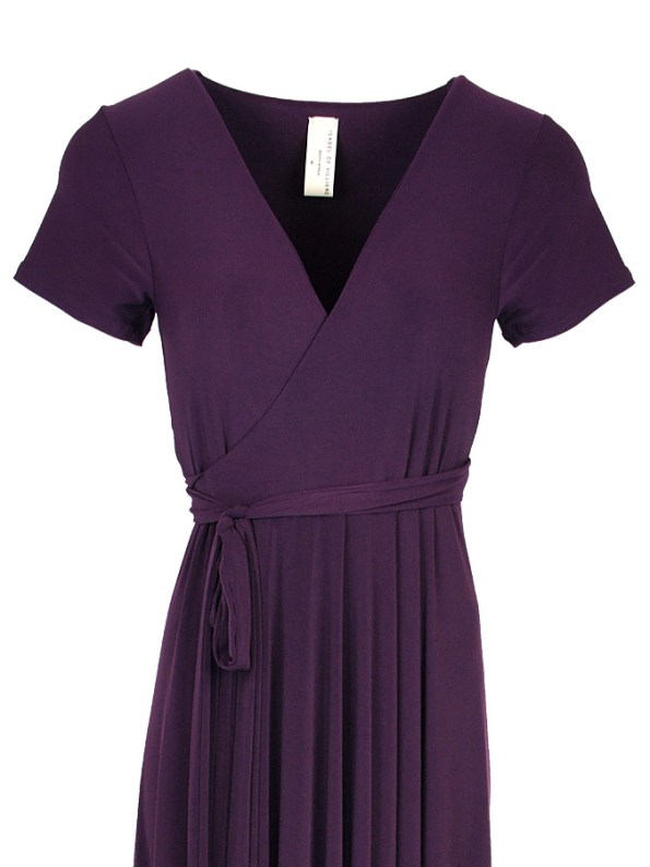 Isabel de Villiers Maxi Wrap Dress Plum Bodice