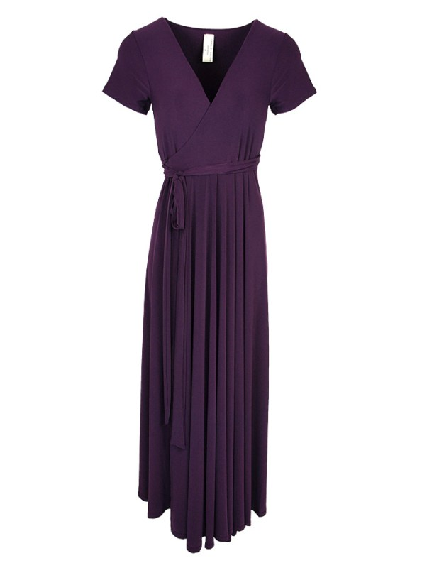 Isabel de Villiers Maxi Wrap Dress Plum