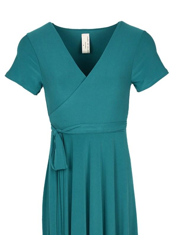 Isabel de Villiers Maxi Wrap Dress Teal Bodice