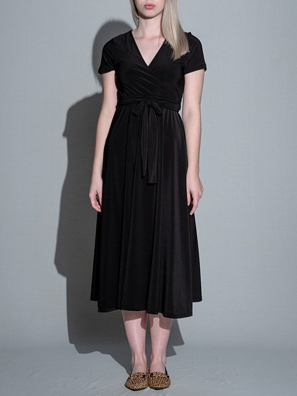 Isabel de Villiers Midi Wrap Dress Black Front