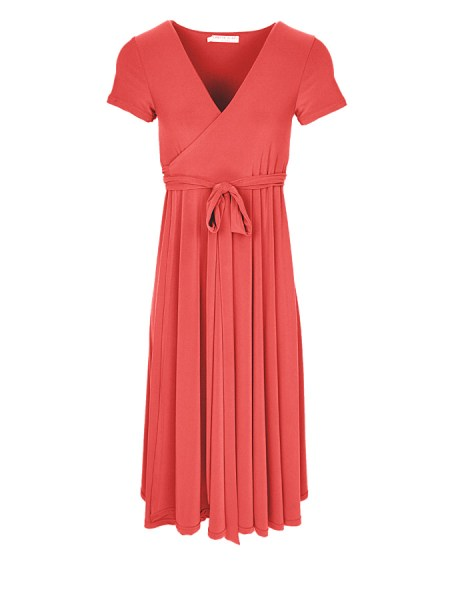 Pink Coral midi wrap dress Plus Size South Africa