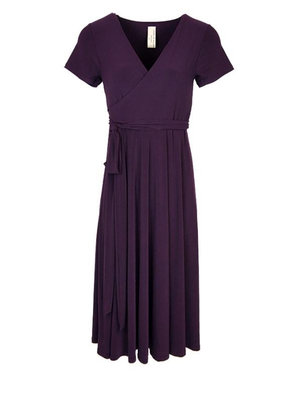 Isabel de Villiers Midi Wrap Dress Plum
