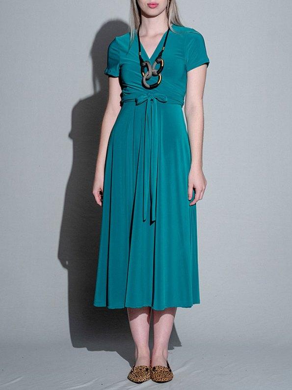 Isabel de Villiers Midi Wrap Dress Teal Front