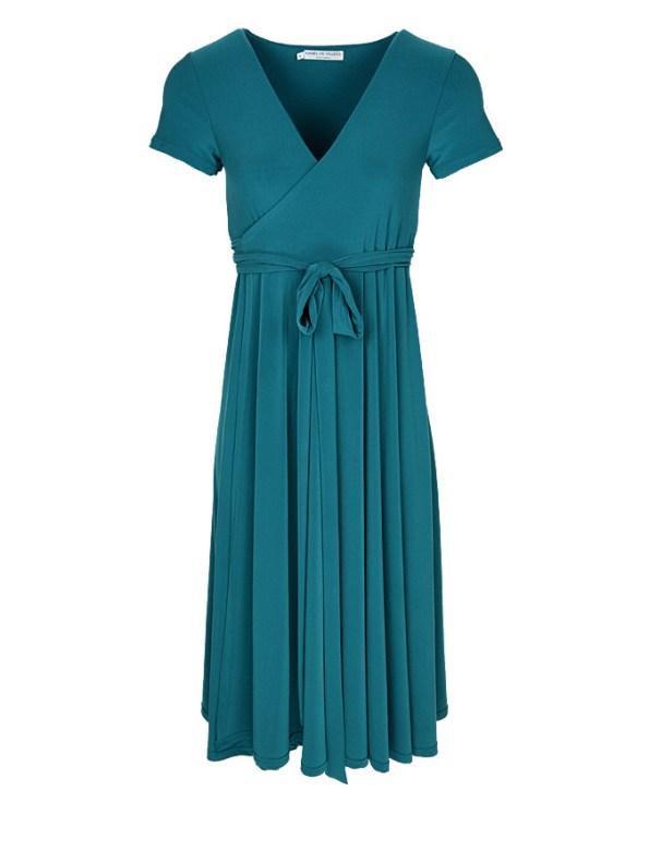 Isabel de Villiers Midi Wrap Dress Teal