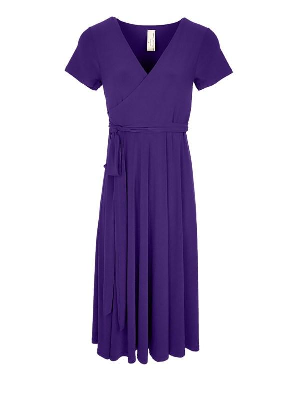 Isabel de Villiers Summer Midi Wrap Dress Purple