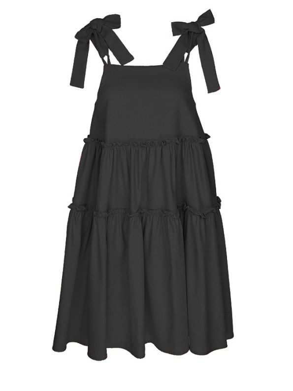 Isabel de Villiers Tiered Mini Dress Black