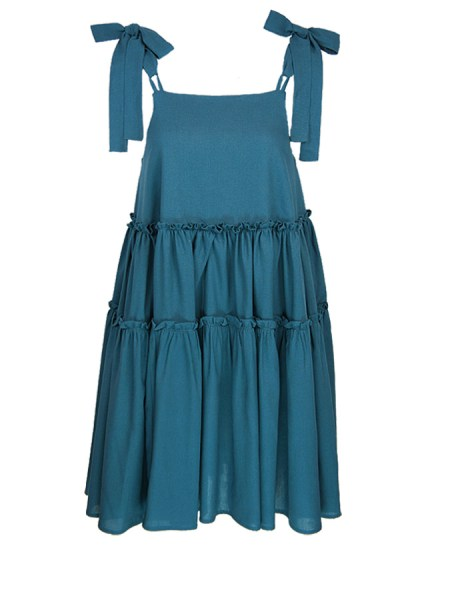 Teal tiered linen dress South Africa