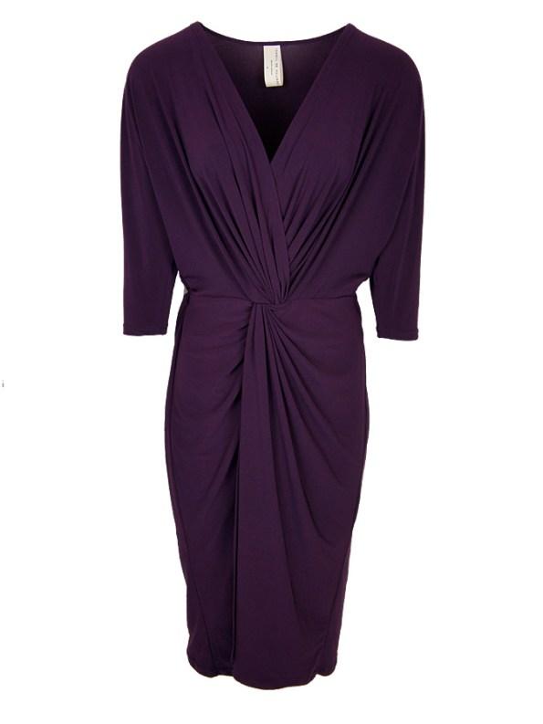 Isabel de Villiers Twist Midi Dress Plum