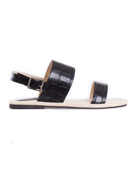 black leather sandals croc print