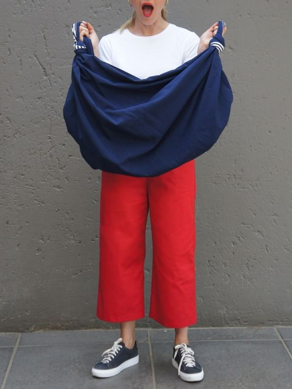 JMVB Furoshiki Bag Open Navy with T-shirt and Culottes