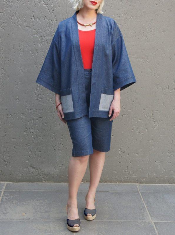 JMVB Kimono Denim Jacket with Bermuda Shorts Front