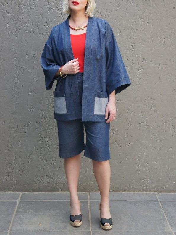 JMVB Kimono Denim Jacket with Bermuda Shorts