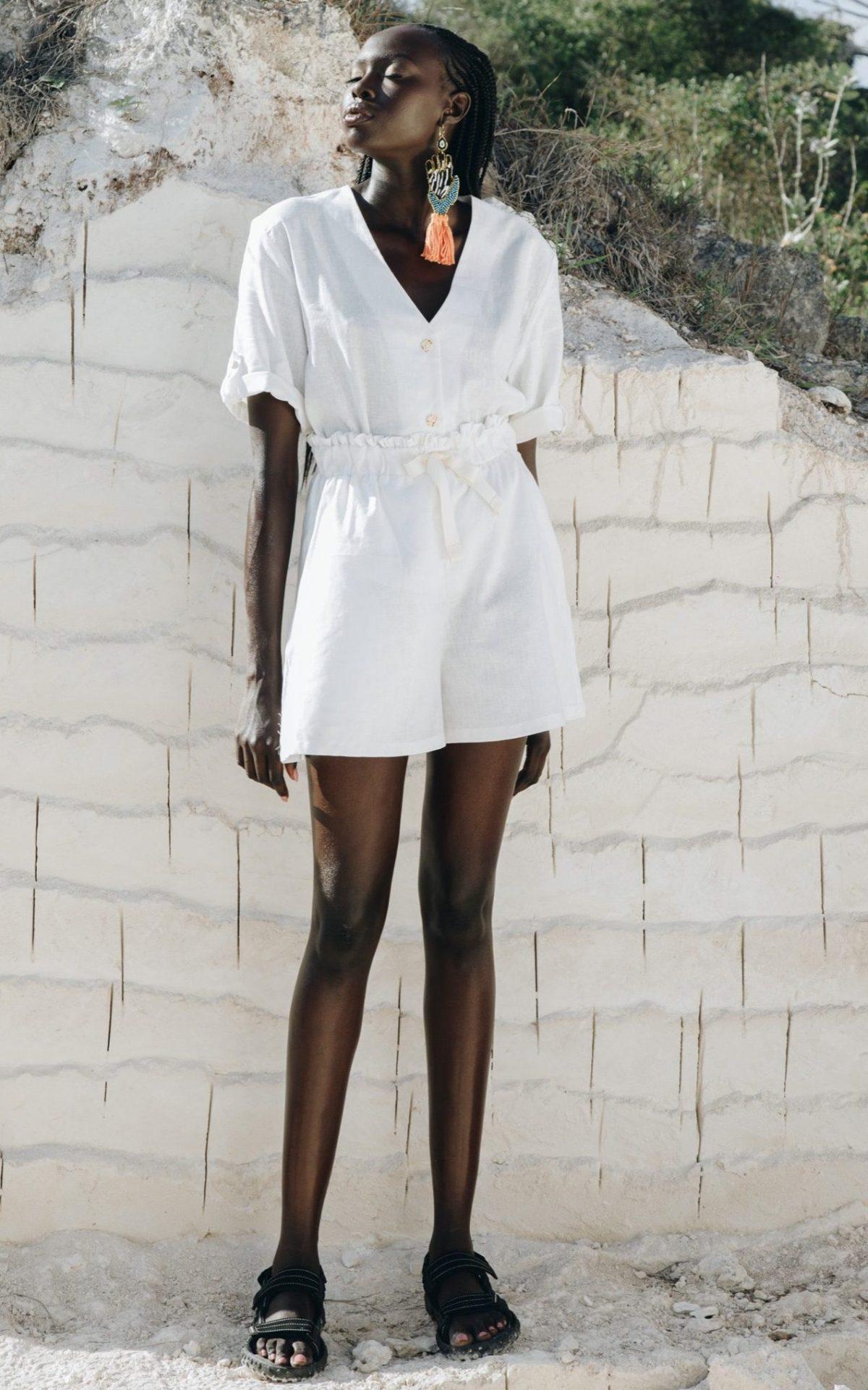 Matching set of linen hemp shorts and top