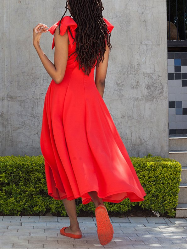 Erre Bow Fit & Flare Dress Fire Back