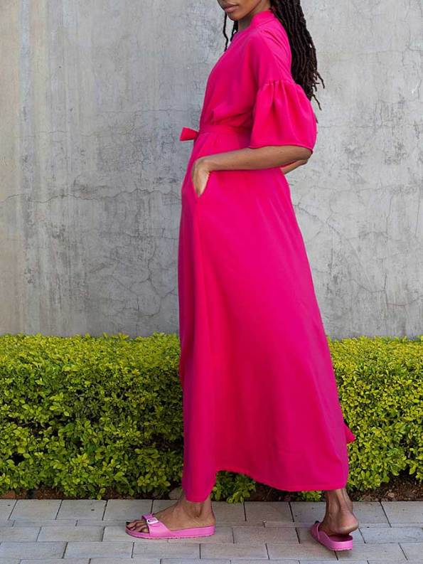 Erre Gather Short Sleeve Cover-up Pink Back
