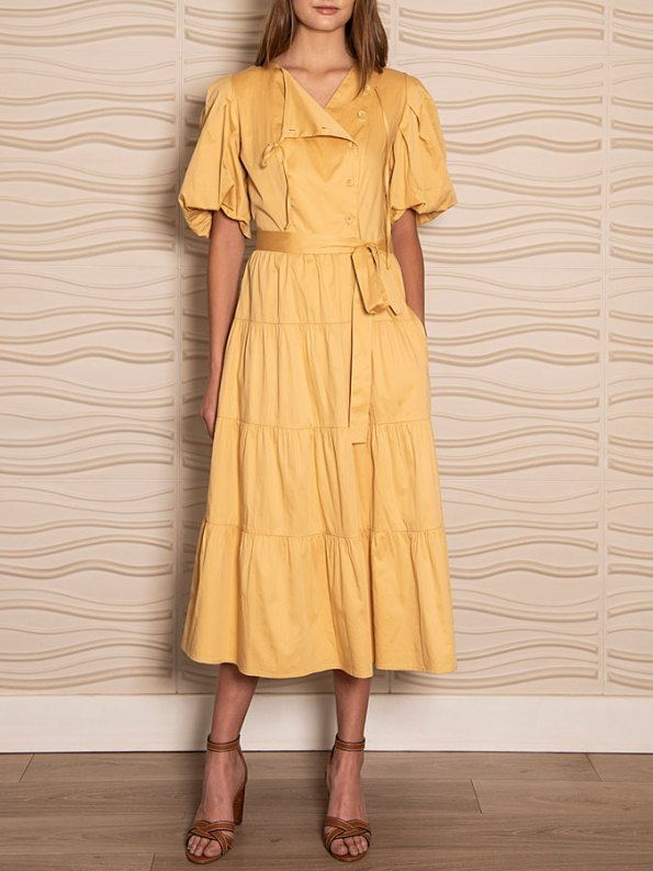 Smudj Puff Sleeve Dress Soft Yellow Front