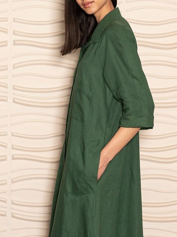 Smudj Seeking Silence Linen Dress Green Detail