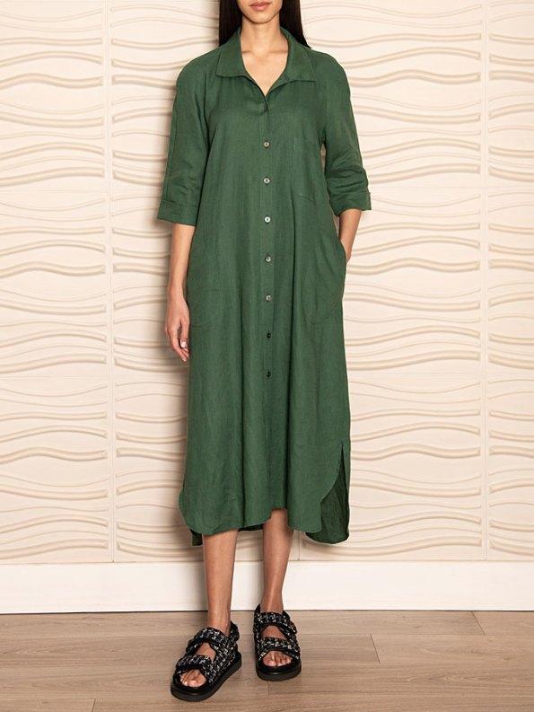 Smudj Seeking Silence Linen Dress Green Front