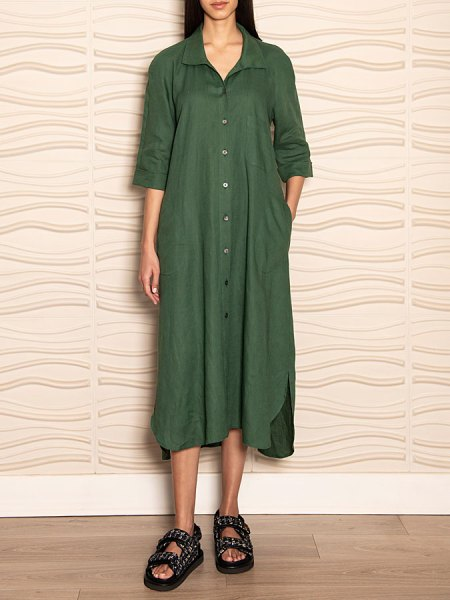 Green linen shirt dress South Africa