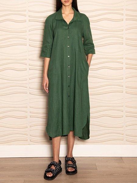 Green linen shirt dress South Africa