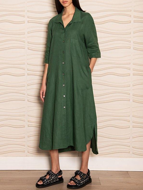 Smudj Seeking Silence Linen Dress Green Side