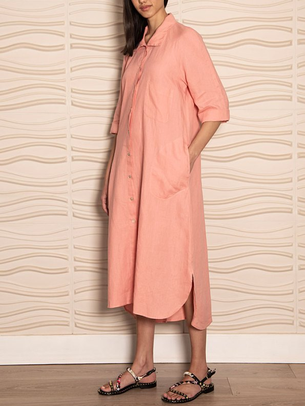 Smudj Seeking Silence Linen Dress Pink Side