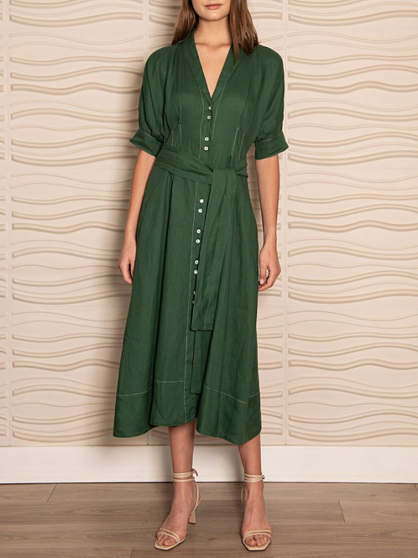Smudj Wild at Heart Dress Green Linen Front