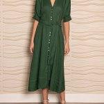 Smudj Wild at Heart Dress Green Linen
