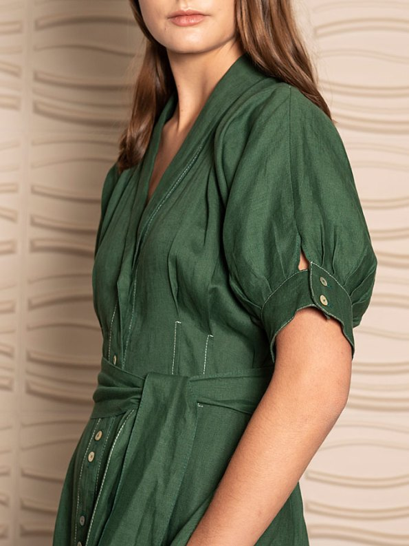Smudj Wild at Heart Dress Green Linen Sleeve