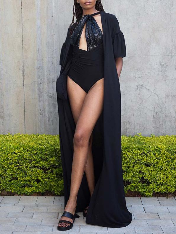 Erre Gather Short Sleeve Cover-up Black over Swimsuit