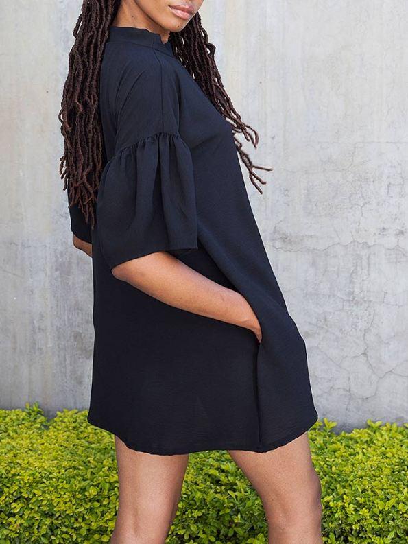Erre Glide Easy-fit Dress Black Sleeve Pocket